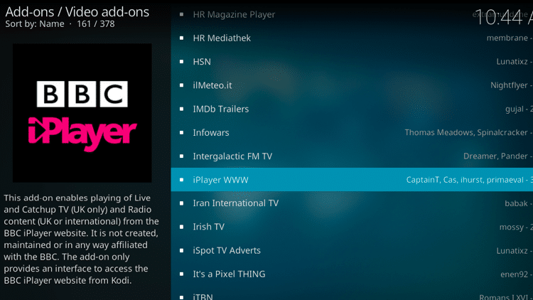 Step 5 - How to Install iPlayer WWW Kodi Addon Guide