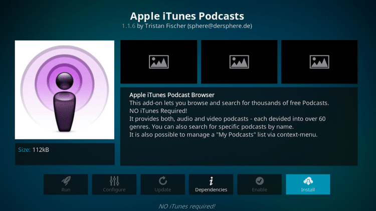 Step 6 - How to Install Apple iTunes Podcasts Kodi Addon Guide