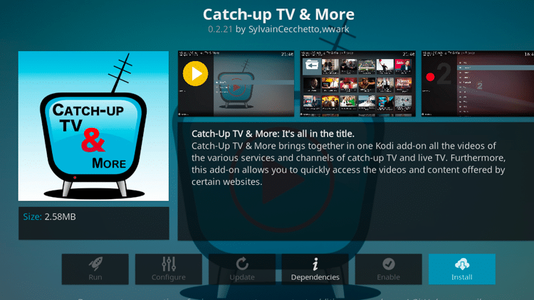 Step 6 - How to Install Catch-up TV & More Kodi Addon Guide