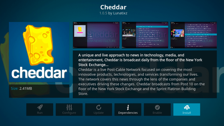Step 6 - How to Install Cheddar Kodi Addon Guide