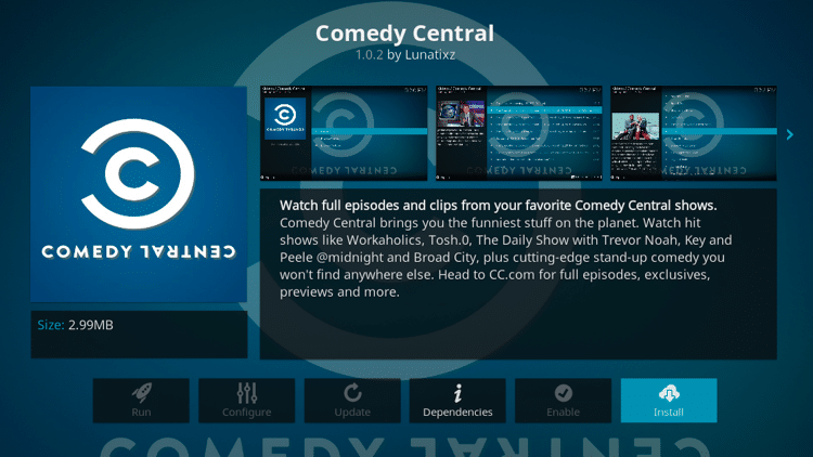 Step 6 - How to Install Comedy Central Kodi Addon Guide
