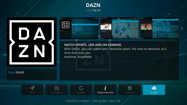 Step 6 - How to Install DAZN Kodi Addon Guide