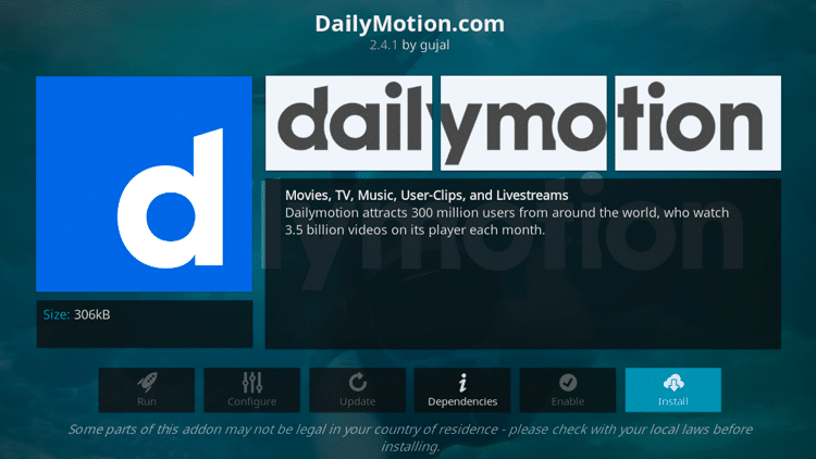 Step 6 - How to Install DailyMotion Kodi Addon Guide