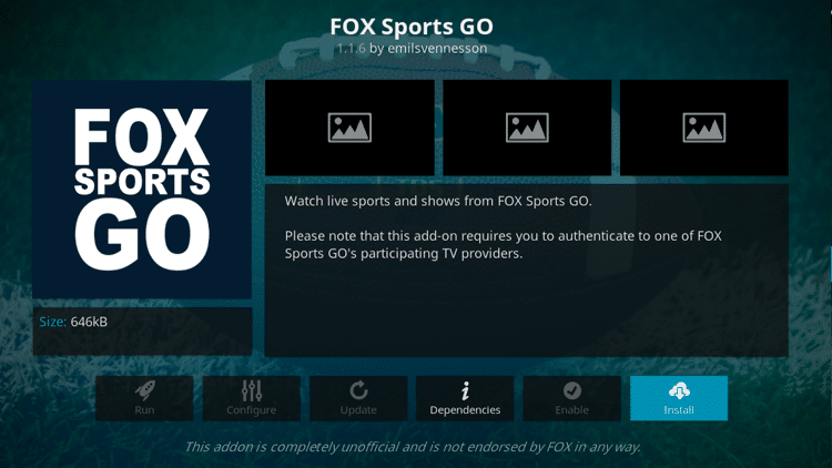 Step 6 - How to Install FoxSports Go Kodi Addon Guide