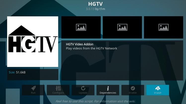 Step 6 - How to Install HGTV Kodi Addon Guide