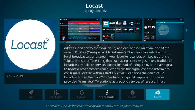 Step 6 - How to Install Locast Kodi Addon Guide