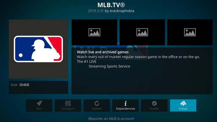Step 6 - How to Install MLB TV Kodi Addon Guide
