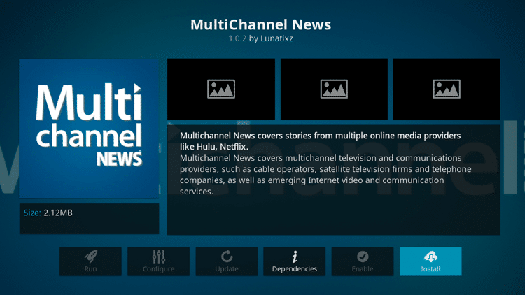 Step 6 - How to Install MultiChannel News Kodi Addon Guide