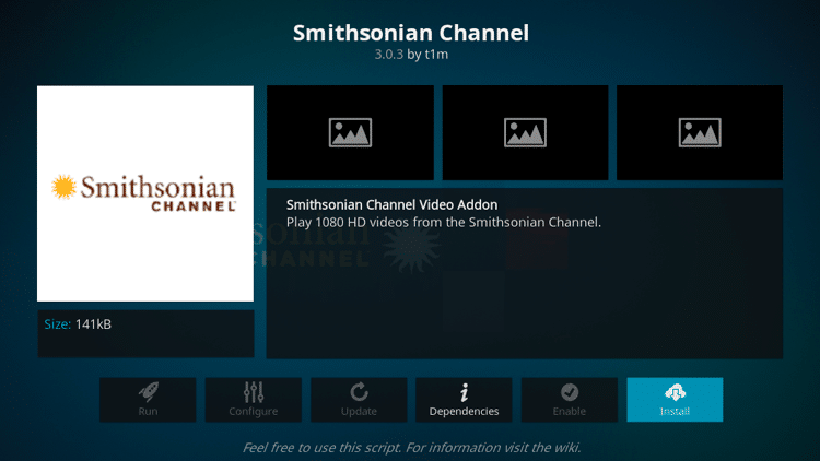 Step 6 - How to Install Smithsonian Channel Kodi Addon Guide