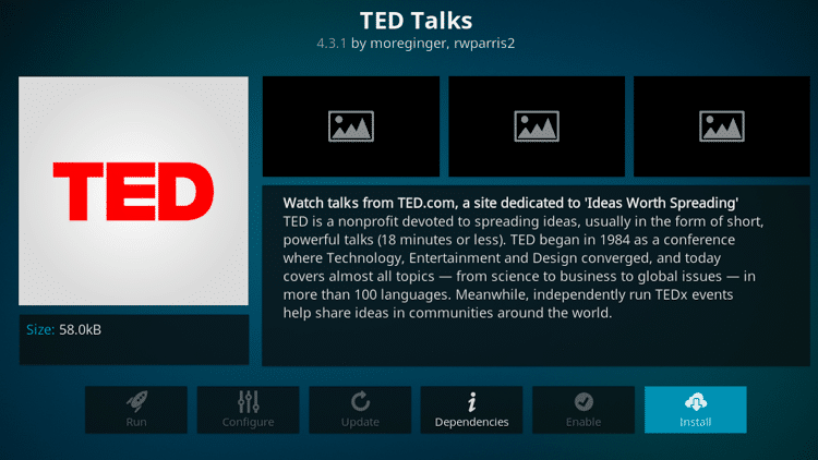 Step 6 - How to Install TED Talks Kodi Addon Guide