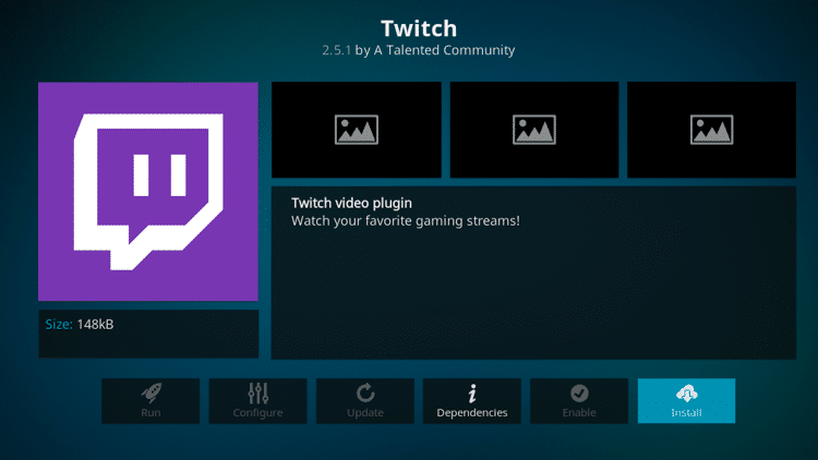 Step 6 - How to Install Twitch Kodi Addon Guide