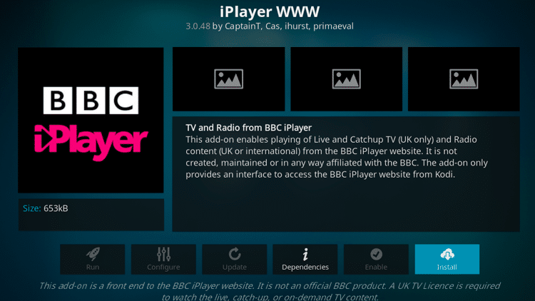 Step 6 - How to Install iPlayer WWW Kodi Addon Guide