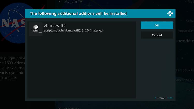 Step 7 - How to Install NASA Kodi Addon Guide
