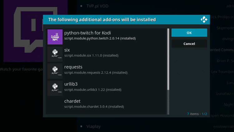 Step 7 - How to Install Twitch Kodi Addon Guide