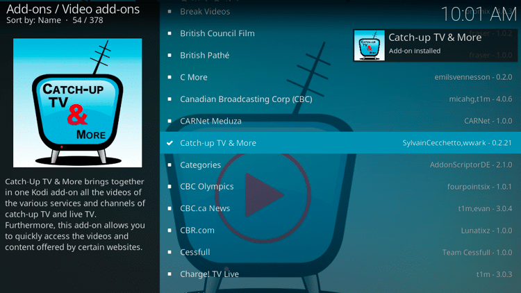Step 8 - How to Install Catch-up TV & More Kodi Addon Guide