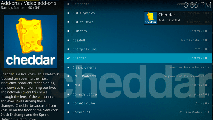 Step 8 - How to Install Cheddar Kodi Addon Guide