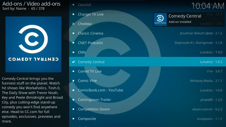 Step 8 - How to Install Comedy Central Kodi Addon Guide