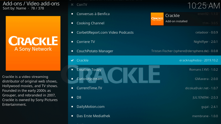 Step 8 - How to Install Crackle Kodi Addon Guide