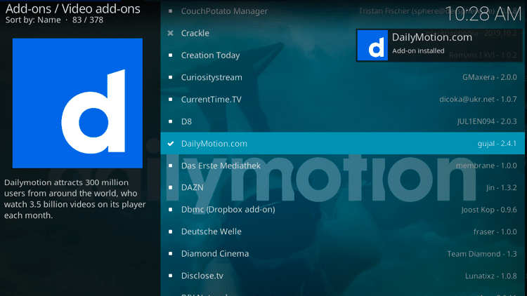 Step 8 - How to Install DailyMotion Kodi Addon Guide