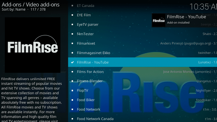 Step 8 - How to Install FilmRise Kodi Addon Guide