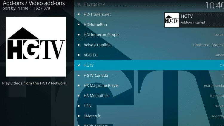 Step 8 - How to Install HGTV Kodi Addon Guide