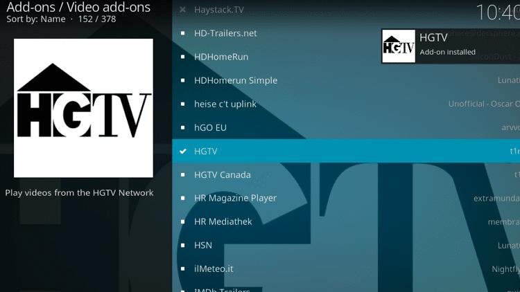 Step 8 - How to Install HGTV Kodi Addon Guide