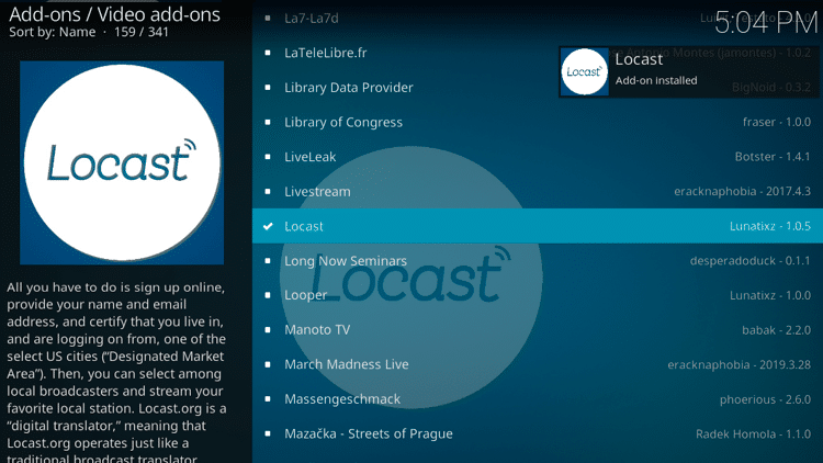 Step 8 - How to Install Locast Kodi Addon Guide