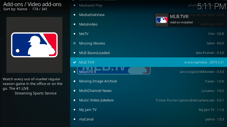 Step 8 - How to Install MLB TV Kodi Addon Guide