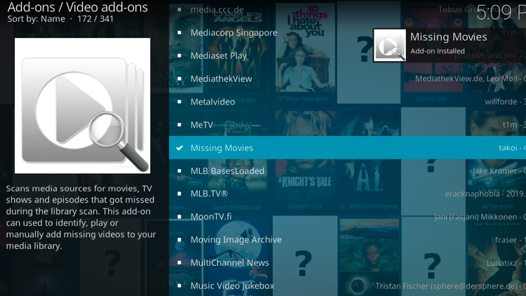 Step 8 - How to Install Missing Movies Kodi Addon Guide