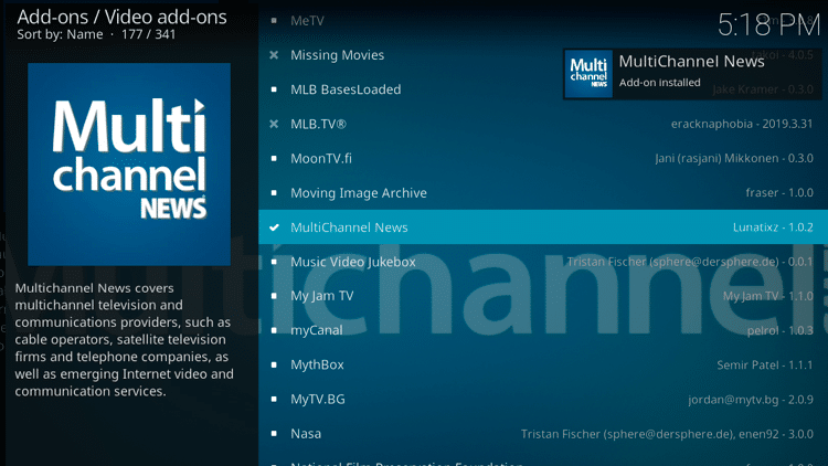 Step 8 - How to Install MultiChannel News Kodi Addon Guide
