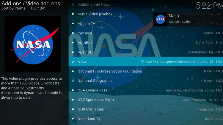 Step 8 - How to Install NASA Kodi Addon Guide