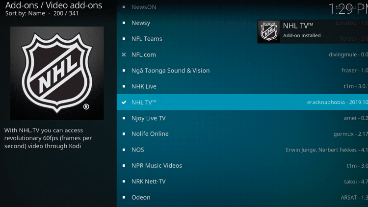 Step 8 - How to Install NHL TV Kodi Addon Guide