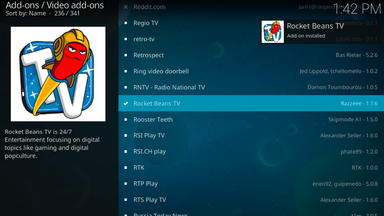 Step 8 - How to Install Rocket Beans TV Kodi Addon Guide