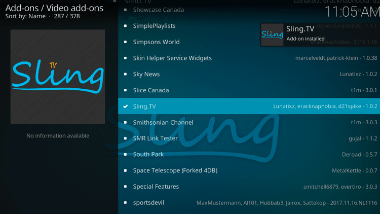 Step 8 - How to Install Sling TV Kodi Addon Guide