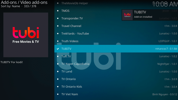 Step 8 - How to Install Tubi TV Kodi Addon Guide