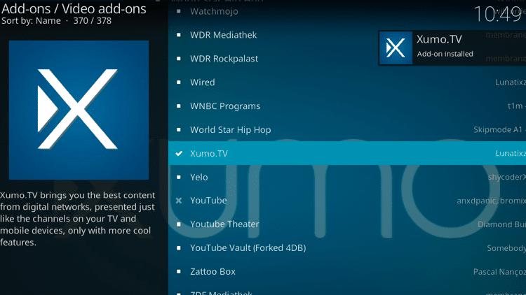 Step 8 - How to Install Xumo.TV Kodi Addon Guide