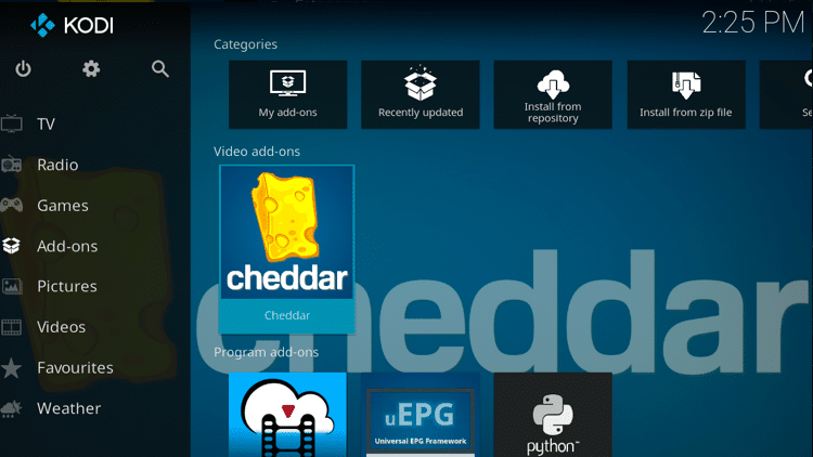 Step 9 - How to Install Cheddar Kodi Addon Guide
