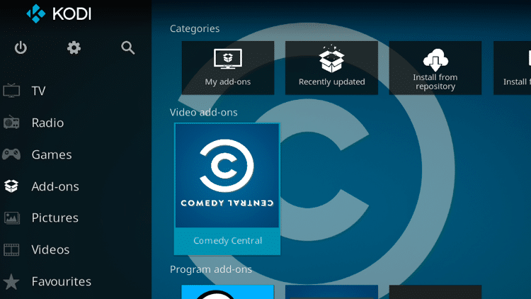 Step 9 - How to Install Comedy Central Kodi Addon Guide