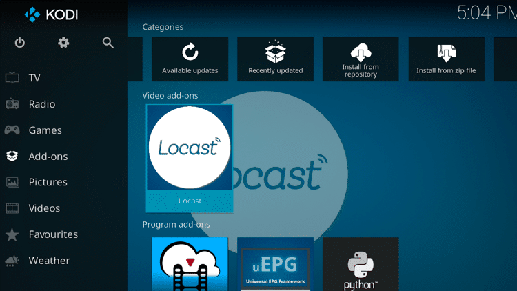 Step 9 - How to Install Locast Kodi Addon Guide