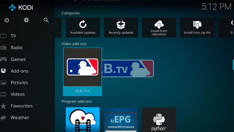 Step 9 - How to Install MLB TV Kodi Addon Guide