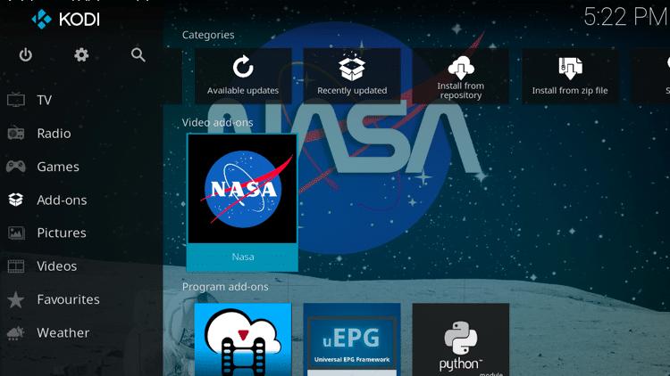 Step 9 - How to Install NASA Kodi Addon Guide