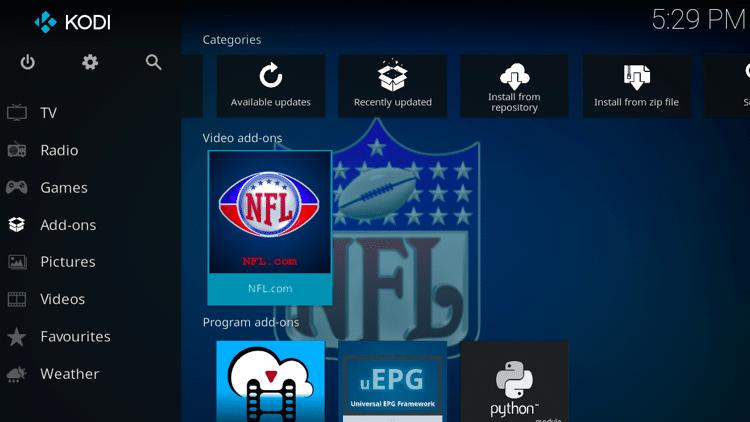 Step 9 - How to Install NFL.com Kodi Addon Guide