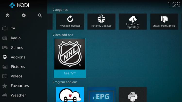 Step 9 - How to Install NHL TV Kodi Addon Guide