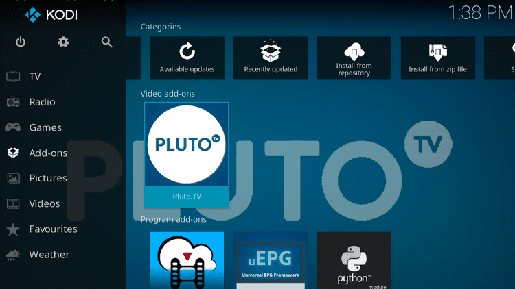Step 9 - How to Install Pluto TV Kodi Addon Guide