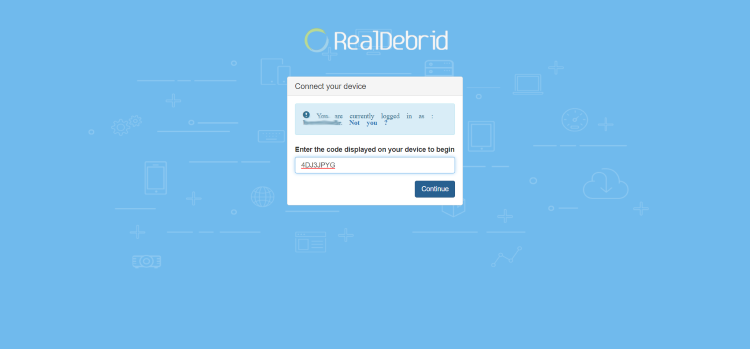 realdebrid.com/device and enter provided code