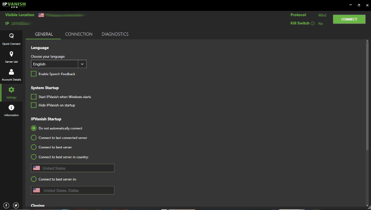 From the main menu of IPVanish VPN click Settings