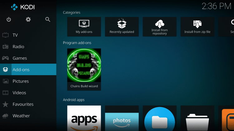 Return back to the Home screen of Kodi and choose Add-ons