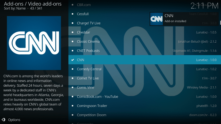 Wait for CNN add-on installed message to appear