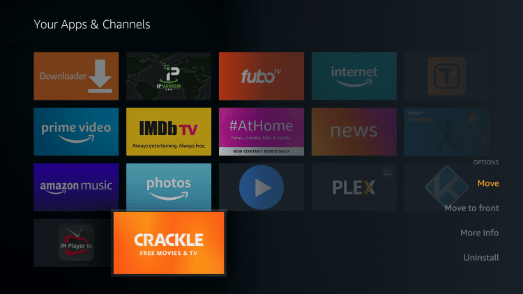 Hover over the Crackle app and select Move