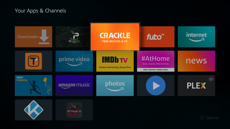 Place the Crackle app within your Apps & Channels wherever you prefer